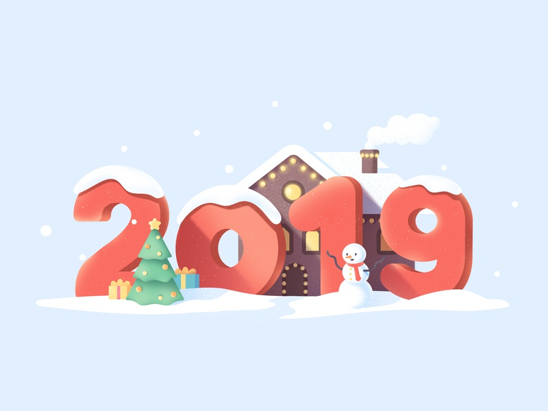 New Year holiday tree christmas winter snow house snowman new year 2019 flat texture illustration