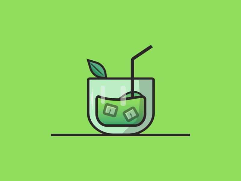 Greenie Drinky vector adobe illustrator illustration line stroke design