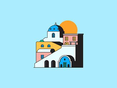 Oia minimalist santorini sun greece city illustration