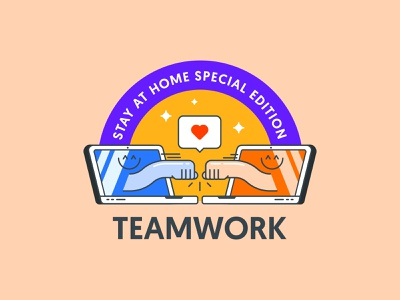 Teamwork sticker vector goodies badge home remote love teamwork sticker branding illustration