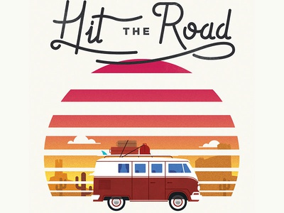 Hit the Road illustration type sun combi vw hit the road