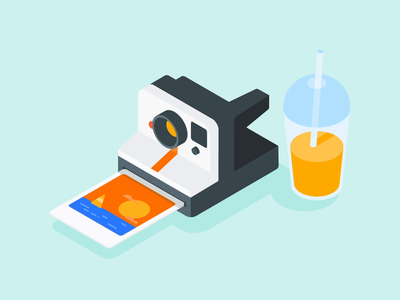 It feels like summer animation after affects flash sailing sun beach juice picture summer polaroid camera isometric illustration