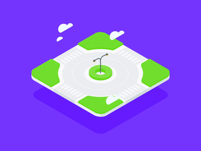 Floating roundabout isometric clouds after effect road animation illustration