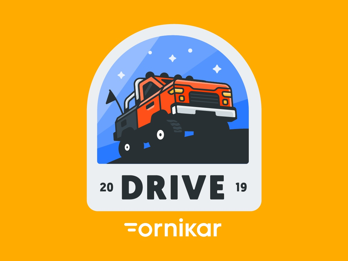Drive By Ornikar truck patch badge event pickup vector logo illustration