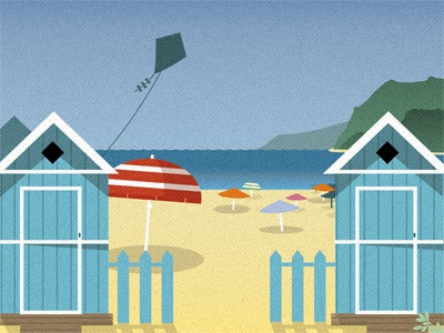 Mondello illustration sicilia beach umbrella