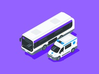 Vehicles vector isometric isometry vehicle illustrations ambulance bus illustrator