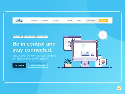 SIMcontrol Redesign branding flickswitch simcontrol illustration landing page hero ui design sketch