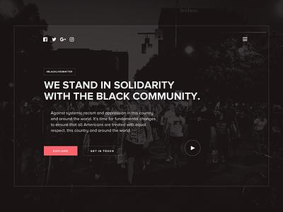 Black Lives Matter Tribute ui blm hero landing page design sketch black lives matter