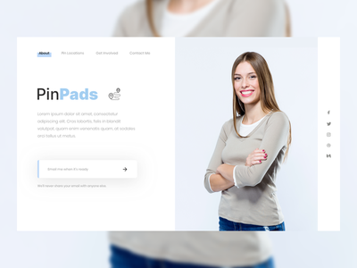 PinPads Initiative user interface woman initiative subscribe signup page signup form email landing page ui design sketch