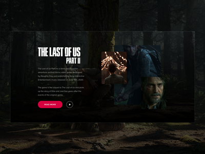 The Last of Us 2 - Section UI ux games minimalist card landing page video games gaming ui design sketch
