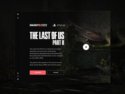 The Last of Us 2 - Hero UI user inteface videogames naughty dog ps4 the last of us tlof ux hero landing page video games gaming ui design sketch