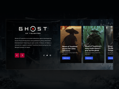 Ghost of Tsushima - Info Block user experience user inteface desktop xbox playstation ghost of tsushima landing page ux card video games gaming ui design sketch