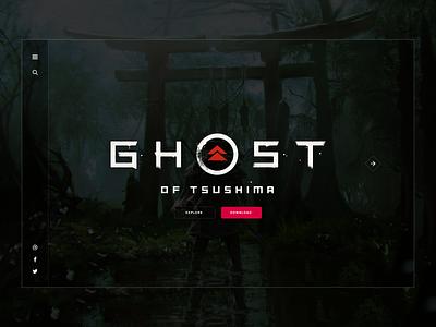 Ghost of Tsushima - Hero Splash user interface ghost of tsushima games ux hero landing page video games gaming ui design sketch