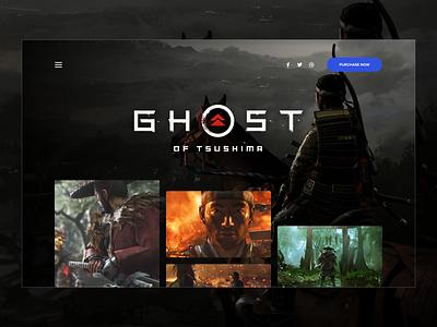 Ghost of Tsushima - Landing Page ghost of tsushima ux design ui design games ux hero landing page video games gaming ui design sketch