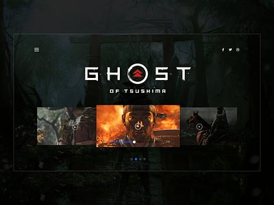 Ghost of Tsushima - Info Slider user experience user interface ghost of tsushima ux design ui design games hero landing page video games gaming ux ui design sketch