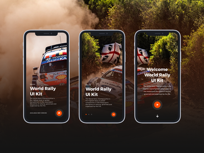 World Rally Mobile Onboarding UI landing page onboarding gaming user interface mobile rally wrc design sketch ui