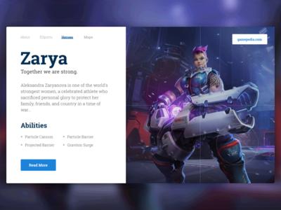 Overwatch Bio Card - Zarya