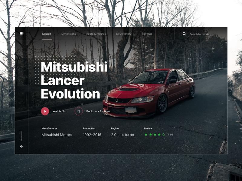 Mitsubishi Lancer Evo Landing Page landing page hero cars mitsubishi lancer evo ui design sketch