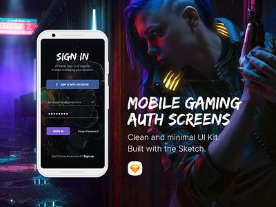 Gaming Auth & Splash Screens article splash login auth mobile form video games gaming ui design sketch
