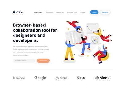 Collaboration App Landing Page clean minimalist app collaboration illustration landing page hero ui design sketch