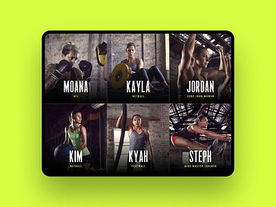 Athlete Grid landing page mobile ux app workout crossfit exercise arcade tablet design nike