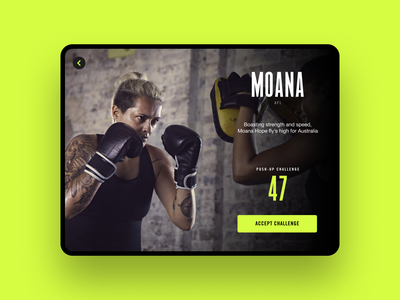 Push-Up Challenge — Moana Hope nike mobile app ux ui exercise workout arcade tablet app tablet design tablet