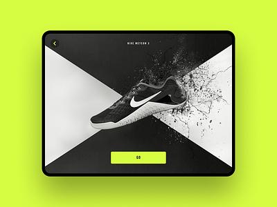 Shoe Selection — Nike Metcon 3 exercise workout shoe tablet design tablet app tablet nike app mobile ux ui