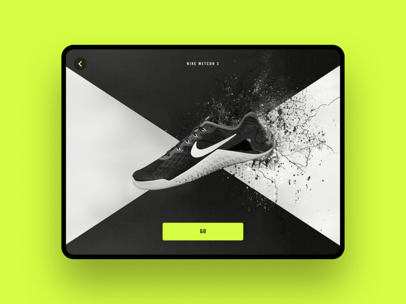 Shoe Selection — Nike Metcon 3 exercise workout shoe tablet design tablet app tablet nike app mobile ux ui