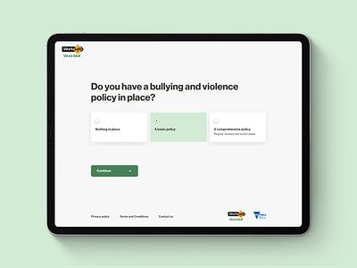 WorkWell • Self Assessment program government steps landing page mental health awareness mental health questionnaire tablet design tablet app