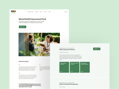 WorkWell • Mental Health Improvement Fund Landing Page program accessible government funding application mental health mental health awareness landing page