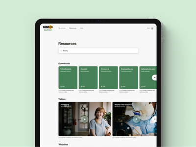 WorkWell •Resources documents policy funding toolkit landing page tablet application program accessible mental health government resources