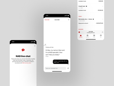 NAB •Live Chat accessibility customer service service assistant help banking app live chat ui live chat chat ui chat finance money banking bank accessible app mobile