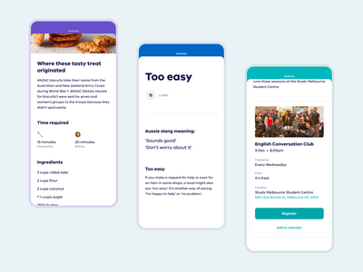 Unlock Melbourne • Task Details card ui gamification college university international speech voice event language recipe emojis emoji mobile app task student government a11y accessibility accessible