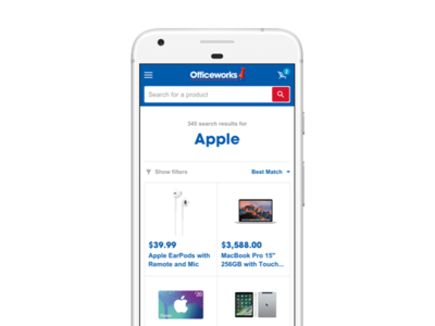 Officeworks Responsive Site - Mobile Search search responsive design systems ux ui
