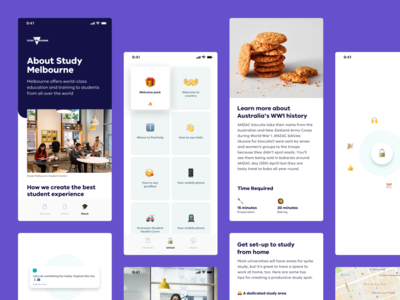 Unlock Melbourne — App international student unlock gamify recipe card ui cards melbourne art direction mobile ux ui welcome accessibility accessible mobile app student app