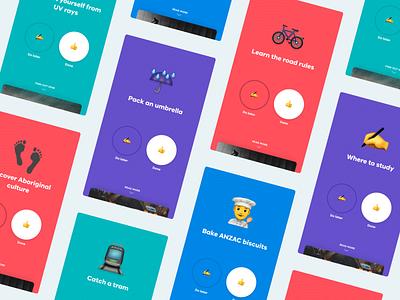 Info Cards surprise delightful delight gamify todo app todo emoji fun clean simple advice poll mobile app mobile app card ui cards card