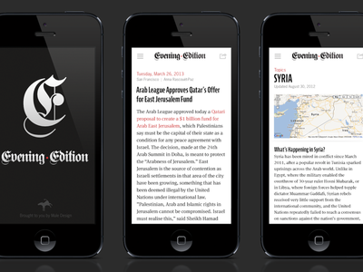 Evening Edition App Concept ios mobile editorial media news white black