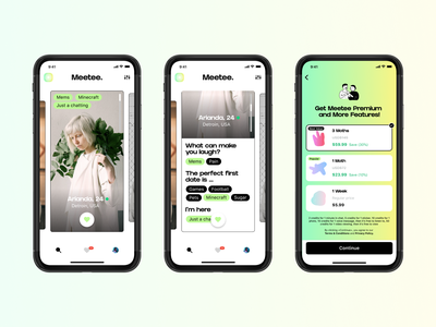 Meetee. - Dating app green love gradient uxdesign ui design ios datingapp app dating ui ux