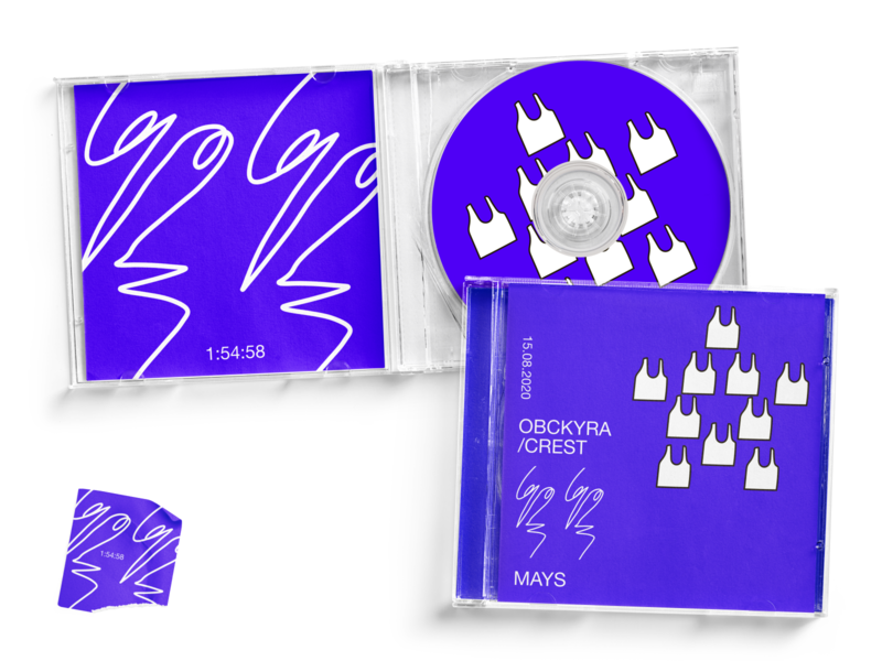 OBCKYRA/CREST - ALBUM SET techno artist compact disk album music typography illustration graphic design