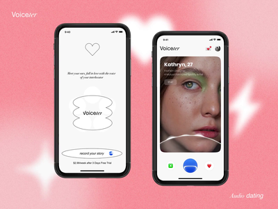 Audio Dating application - Concept heart noise pink ios app vector logo konturpasha illustration typography clubhouse voice okupid badoo tinder date audio dating datig ux ui
