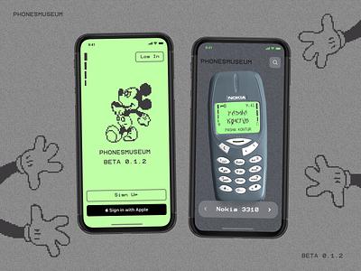 Phonemuseum - Concept draft art graphic vector logo konturpasha nokia3310 mickeymouse spline 3d pixelart illustration uidesign ux design concept museum ios nokia ux ui