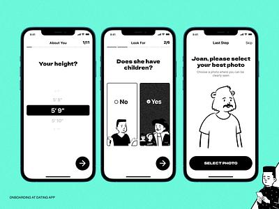 Dating App - Onboarding blackwhite graphic product design illustration peeps onboarding ios dating app dating ux ui konturpasha branding typography design