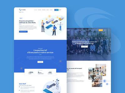 Website Everysens 01 web branding mockups transport artificialintelligence illustration everysens blue uxdesign uidesign design webdesign