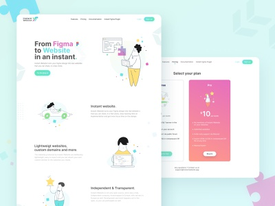 InstantWebsite Project Redesign instantwebsite design uiux princingpage desktop uibucket productdesign figma ui design uidesign home screen colors website homepage hero plugin