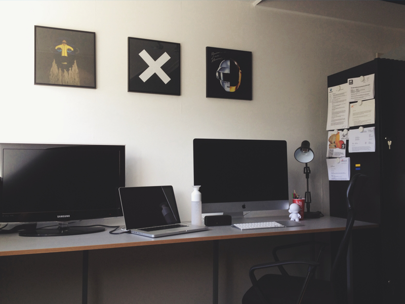 The Workspace desk setup workspace vinyl room apple designer macbook imac retina munny dopper
