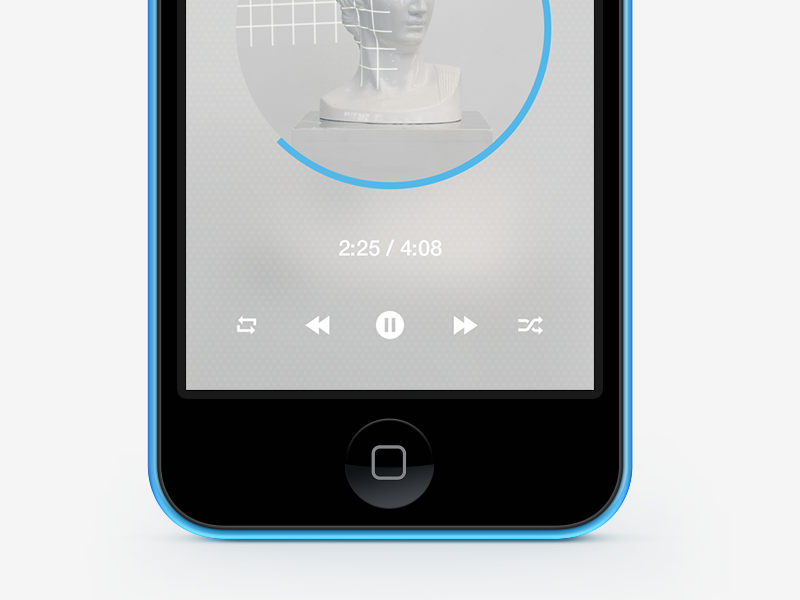 Loop App music number player app iphone 5c circle blue white icons design redesign