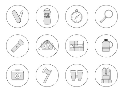 Camping Icons set illustrator grey outline icons flat vector camping