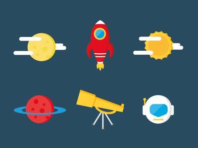 Space icon set flat design blue helmet planet rocket design icon flat vector space
