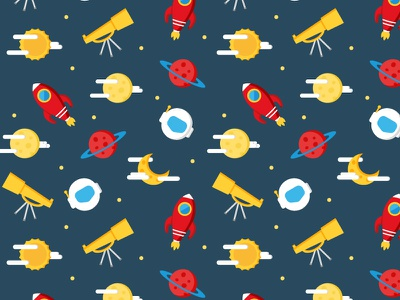 Space Pattern vector texture seamless pattern background planet rocket space flat