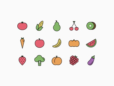 Fruit & Veggie Icons iconography vector simple linear healthy bio green vegetables icons fruits